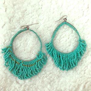 Faux caviar beaded turquoise drop earrings